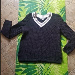 Liz Claiborne navy blue v nec sweater size Large